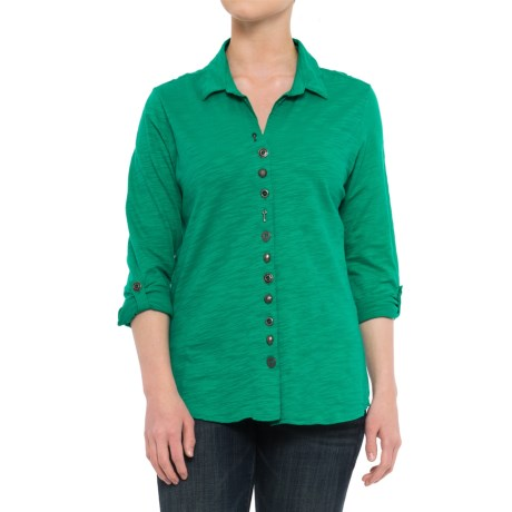 Neon Buddha Eastwood Shirt - Roll-Up Long Sleeve (For Women) in Emerald Sea