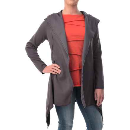Neon Buddha Expose Cotton Hooded Cardigan Sweater (For Women) in Dark Grey - Closeouts
