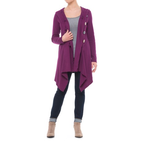 Neon Buddha Expose Cotton Hooded Cardigan Sweater (For Women) in Exquisite Plum