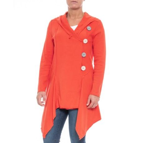 Neon Buddha Expose Cotton Hooded Cardigan Sweater (For Women) in Winter Orange
