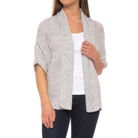 Neon Buddha Florence Cardigan Sweater - Open Front, Short Sleeve (For Women) in Sporty Grey