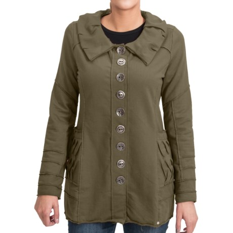 Neon Buddha Inspired Jacket - Button Front, Long Sleeve (For Women) in 107 Hudson Moss