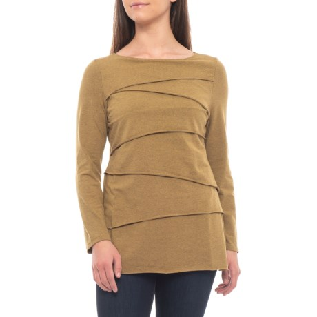 Neon Buddha Inspired Layered Shirt - Long Sleeve (For Women) in Mustard Seed