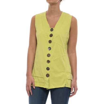 Neon Buddha Journey Button-Up Tank Top (For Women) in Future Lime - Closeouts