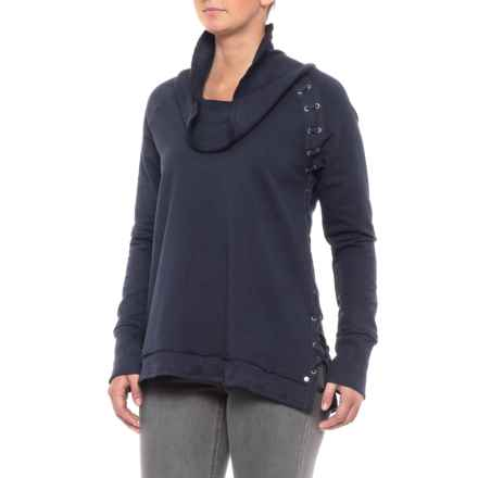 Neon Buddha Leisure Eyelet Accent Shirt - Cowl Neck, Long Sleeve (For Women) in Midnight - Closeouts