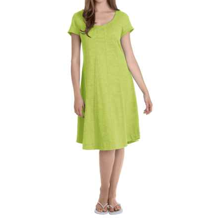 Neon Buddha Lifestyle Slub Jersey Swing Dress - Short Sleeve (For Women) in Future Lime - Overstock