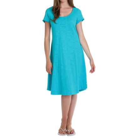 Neon Buddha Lifestyle Slub Jersey Swing Dress - Short Sleeve (For Women) in Sky Turquoise - Overstock