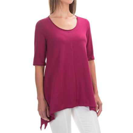Neon Buddha Lifestyle Tee Tunic Shirt - Scoop Neck, Elbow Sleeve (For Women) in Bordeaux Wine - Closeouts