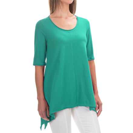Neon Buddha Lifestyle Tee Tunic Shirt - Scoop Neck, Elbow Sleeve (For Women) in Clean Turquoise - Closeouts