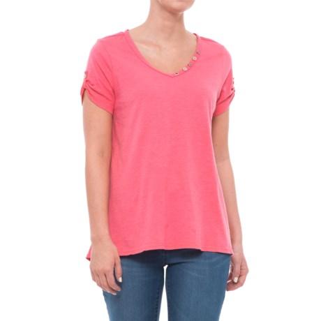 Neon Buddha Lily Cotton Shirt - Short Sleeve (For Women) in Sherbert