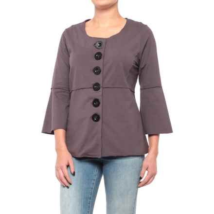 Neon Buddha Mantra Swing Jacket (For Women) in Dark Grey - Closeouts