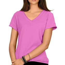 Neon Buddha Nirvana T-Shirt - Stretch Cotton, Short Sleeve (For Women) in Craft Pink