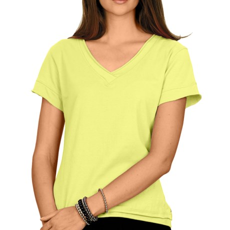 Neon Buddha Nirvana T-Shirt - Stretch Cotton, Short Sleeve (For Women) in Lime Green