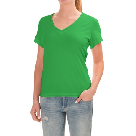 Neon Buddha Nirvana T-Shirt - Stretch Cotton, Short Sleeve (For Women) in Travel Green