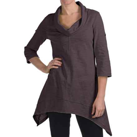 Neon Buddha Peace Cowl Tunic Shirt - Cotton Slub, 3/4 Sleeve (For Women) in Dark Grey - Closeouts