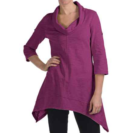 Neon Buddha Peace Cowl Tunic Shirt - Cotton Slub, 3/4 Sleeve (For Women) in Exotic Pink - Closeouts