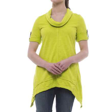 Neon Buddha Peace Cowl Tunic Shirt - Cotton Slub, 3/4 Sleeve (For Women) in Future Lime - Closeouts
