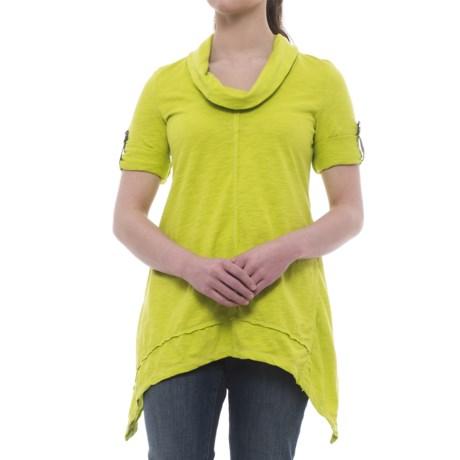 Neon Buddha Peace Cowl Tunic Shirt - Cotton Slub, 3/4 Sleeve (For Women)