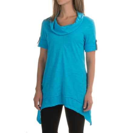 Neon Buddha Peace Cowl Tunic Shirt - Cotton Slub, 3/4 Sleeve (For Women) in Turquoise Water - Closeouts