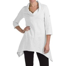 Neon Buddha Peace Cowl Tunic Shirt - Cotton Slub, 3/4 Sleeve (For Women) in White - Closeouts