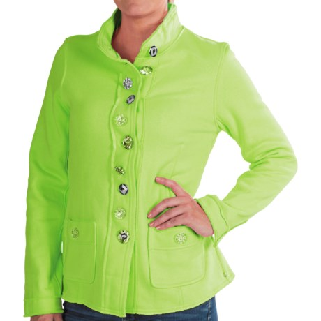 Neon Buddha Raw-Edge Fleece Blazer (For Women) in Funky Lime