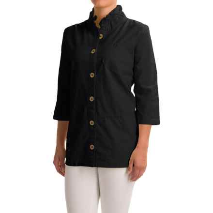 Neon Buddha Reedley Blouse - Wired Collar, 3/4 Sleeve (For Women) in Black - Closeouts
