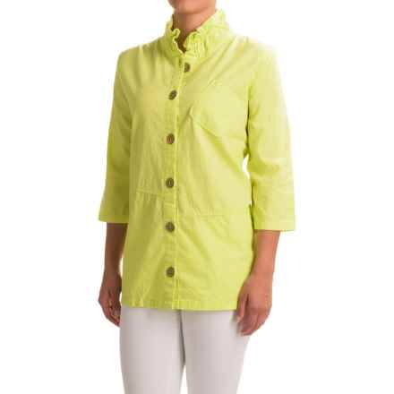 Neon Buddha Reedley Blouse - Wired Collar, 3/4 Sleeve (For Women) in Lime - Closeouts