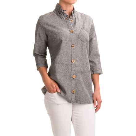 Neon Buddha Reedley Blouse - Wired Collar, 3/4 Sleeve (For Women) in Onyx - Closeouts