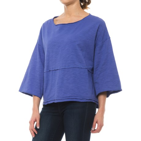 Neon Buddha Retro Raw-Edge Shirt - Relaxed Fit, 3/4 Sleeve (For Women) in Abbotsford Blue