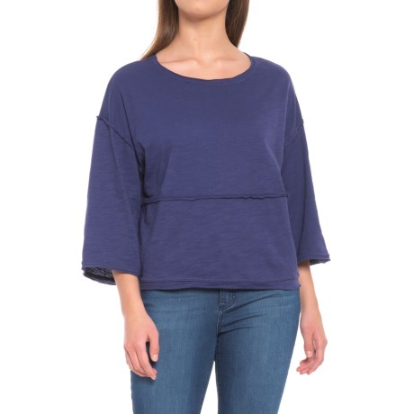 Neon Buddha Retro Raw-Edge Shirt - Relaxed Fit, 3/4 Sleeve (For Women) in Jewel
