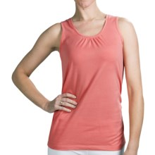 Neon Buddha Ruched Detail Tank Top - Stretch Cotton (For Women) in Lively Peach - Closeouts