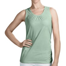Neon Buddha Ruched Detail Tank Top - Stretch Cotton (For Women) in Village Sage - Closeouts