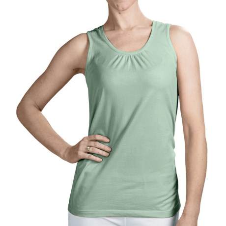 Neon Buddha Ruched Detail Tank Top - Stretch Cotton (For Women) in Village Sage