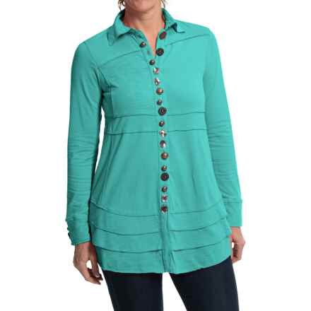 Neon Buddha Sage Shirt - Long Sleeve (For Women) in Clean Turquoise - Closeouts