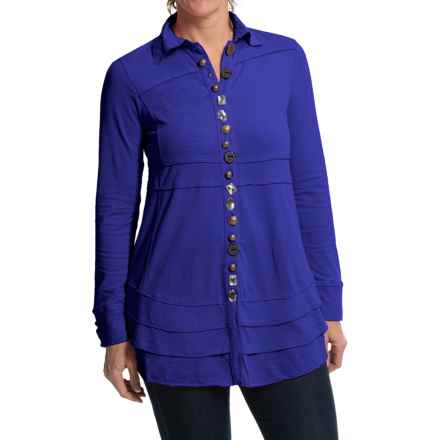 Neon Buddha Sage Shirt - Long Sleeve (For Women) in Deep Royal - Closeouts