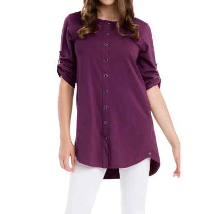 Neon Buddha Sage Spirit Tunic Shirt - Stretch Cotton, 3/4 Sleeve (For Women) in Raven Wine - Closeouts