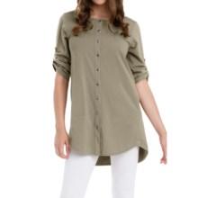 Neon Buddha Sage Spirit Tunic Shirt - Stretch Cotton, 3/4 Sleeve (For Women) in Riverstone - Closeouts