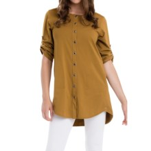 Neon Buddha Sage Spirit Tunic Shirt - Stretch Cotton, 3/4 Sleeve (For Women) in Turmeric - Closeouts