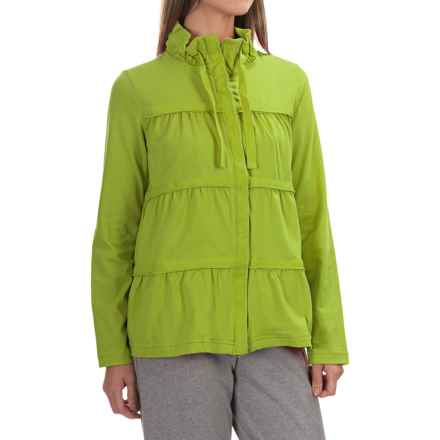 Neon Buddha Sassy Ruffle Jacket - Stretch Cotton Jersey (For Women) in Urban Green - Overstock