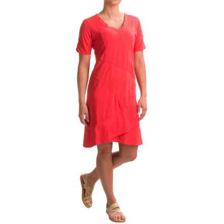 Neon Buddha Seaside Mixed-Cotton Dress - Short Sleeve (For Women) in Cosmic Coral - Closeouts