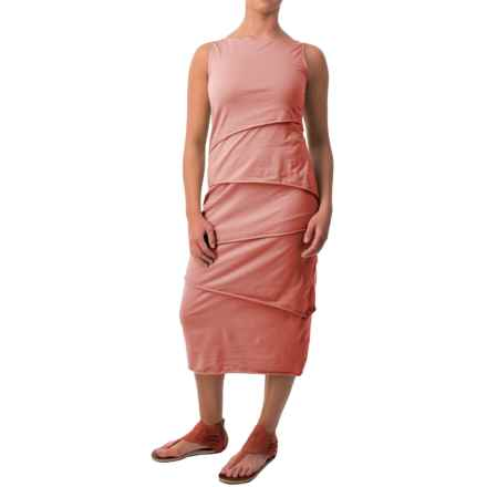 Neon Buddha Shanghai Tiered Tank Dress - Stretch Cotton (For Women) in Lively Peach - Closeouts