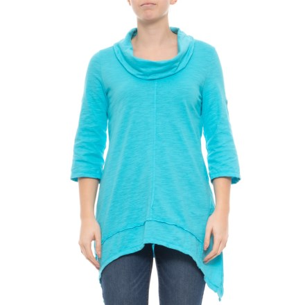 efac4ec83fe298 Neon Buddha Sky Turquoise Peace Cowl Neck Tunic Shirt - 3 4 Sleeves (For