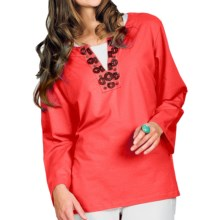 Neon Buddha Stretch Cotton Tunic Shirt - Embellished Collar, Long Sleeve (For Women) in Departure Hot Pink - Closeouts