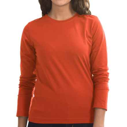 Neon Buddha Stretch Jersey Crew Neck Shirt - Long Sleeve (For Women) in Eco Orange - Closeouts