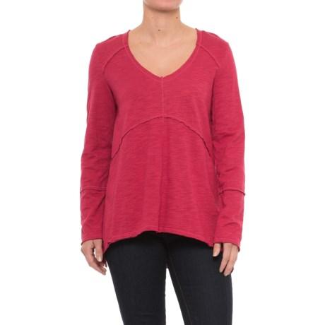 Neon Buddha Tambourine Shirt - Long Sleeve (For Women) in Red Current