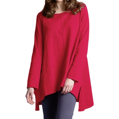Neon Buddha Travel Tunic Shirt - Long Sleeve (For Women) in Red Current