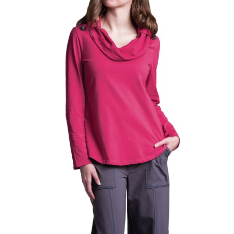 Neon Buddha Trend Shirt - Cowl Neck, Long Sleeve (For Women) in Berry