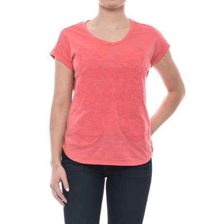 Neon Buddha Tropical Shirt - Short Sleeve (For Women) in Coral