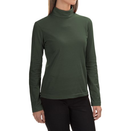 Neon Buddha Turtleneck - Stretch Cotton, Long Sleeve (For Women) in Deep Green