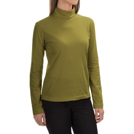 Neon Buddha Turtleneck - Stretch Cotton, Long Sleeve (For Women) in Rich Moss